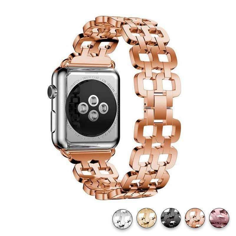 Watches Rose Gold / 38mm / 40mm Apple Watch Series 5 4 3 2 Band, Luxury Metal Strap stainless Steel Link Bracelet Wrist Bands 38mm, 40mm, 42mm, 44mm - US Fast Shipping