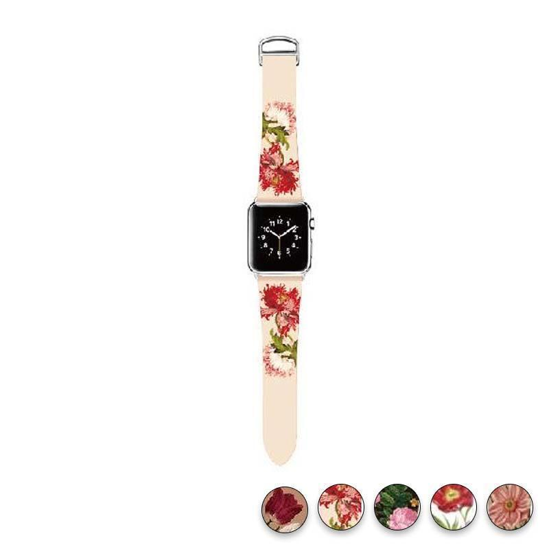 watches Rosy Rrose / 38mm/40mm Original Design Trend Print Leather Band for iwatch Strap Series 1 2 3 4 Flower Design Wrist Watch Bracelet for Apple Watch Band 44mm/ 40mm/ 42mm/ 38mm