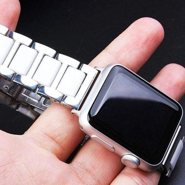 Watches Silver / 38mm / 40mm Apple Watch Series 5 4 3 2 Band, Ceramic Stainless Steel link Strap 38mm, 40mm, 42mm, 44mm - US Fast Shipping