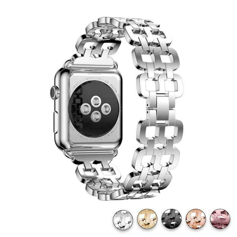 Watches Silver / 38mm / 40mm Apple Watch Series 5 4 3 2 Band, Luxury Metal Strap stainless Steel Link Bracelet Wrist Bands 38mm, 40mm, 42mm, 44mm - US Fast Shipping