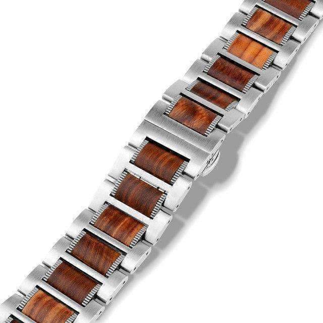 Watches Silver / 42mm / 44mm Apple Watch Series 5 4 3 2 Band, Natural Red Sandalwood Stainless Steel Bracelet Wooden Strap 38mm, 40mm, 42mm, 44mm - US Fast shipping