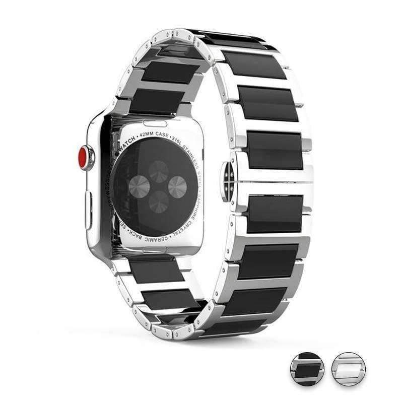 Watches Silver Black / 38mm / 40mm Apple Watch Series 5 4 3 2 Band, Ceramic Stainless Steel link Strap 38mm, 40mm, 42mm, 44mm - US Fast Shipping