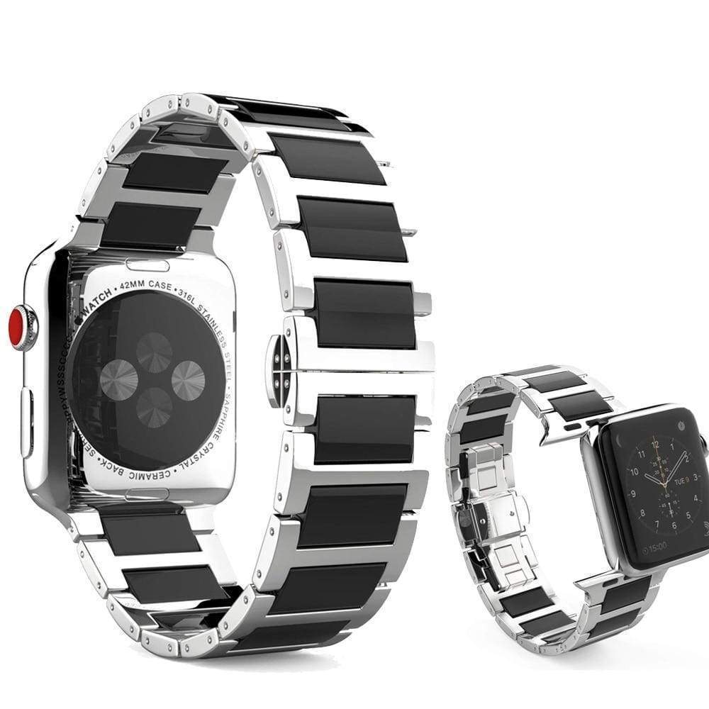 Watches Silver Black / 42mm / 44mm Apple Watch Series 5 4 3 2 Band, Ceramic Stainless Steel link Strap 38mm, 40mm, 42mm, 44mm - US Fast Shipping