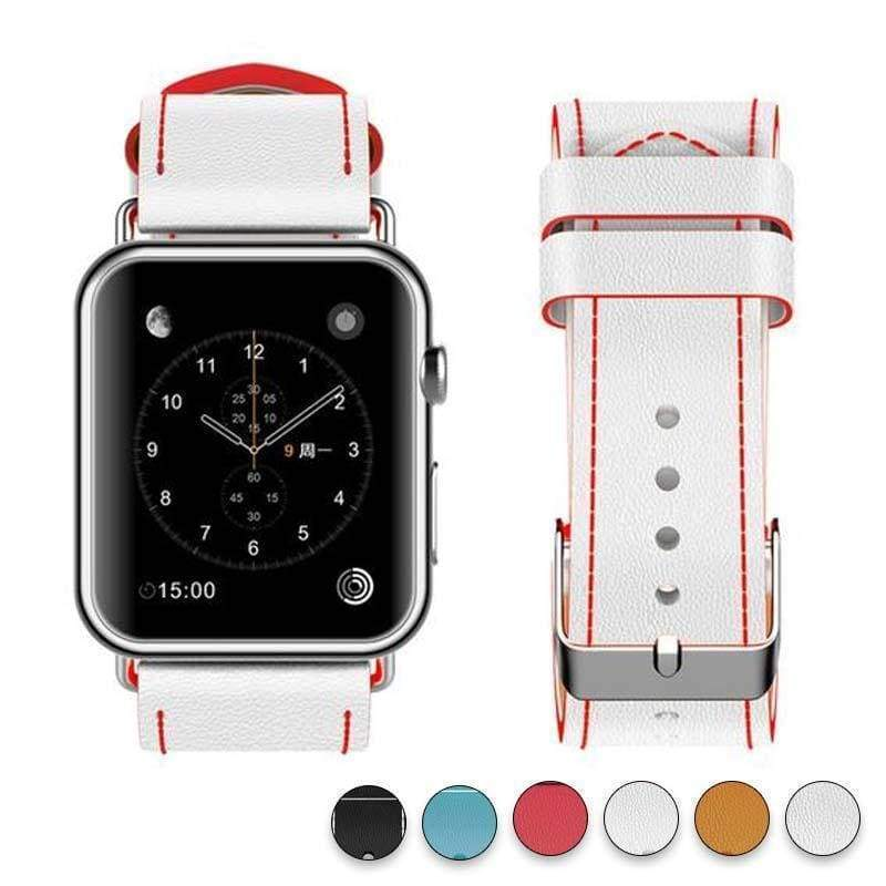 Watches White / 38mm/40mm New Fashion Watchband for Apple Watch Band 44mm/ 40mm/ 42mm/ 38mm Watchband Genuine Leather Belt for Iwatch Series 1 2 3 4 Strap Leather