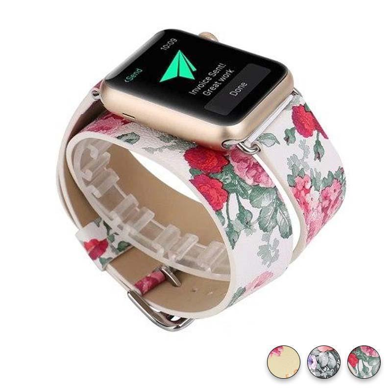 Watches White Floral / 38mm/40mm Leather strap For Apple Watch band 44mm/ 40mm/ 42mm/ 38mm double tour iwatch Series 1 2 3 4 Flower print, USA Fast Shipping