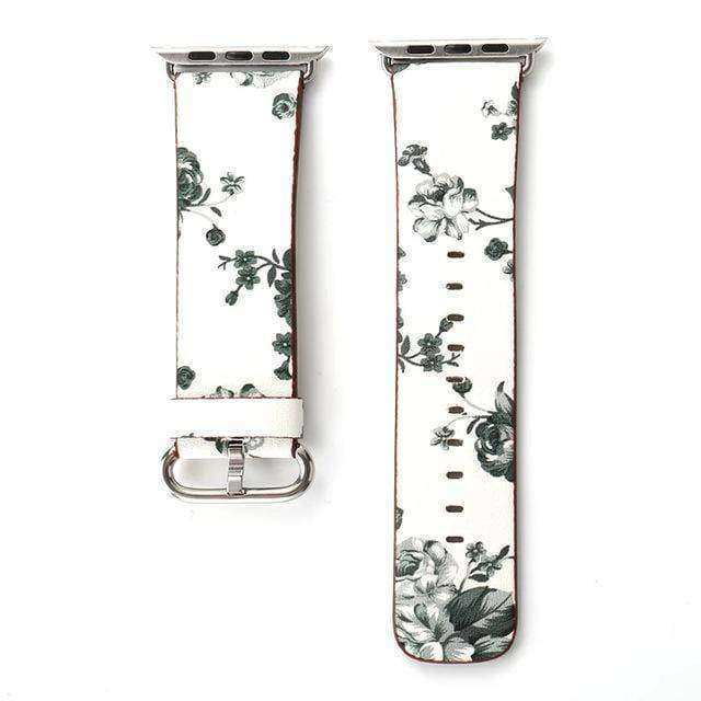 watches White Gray / 38mm/40mm Apple Floral flower watch band, Print Smart iWatch strap, 44mm, 40mm, 42mm, 38mm, Series 1 2 3 4
