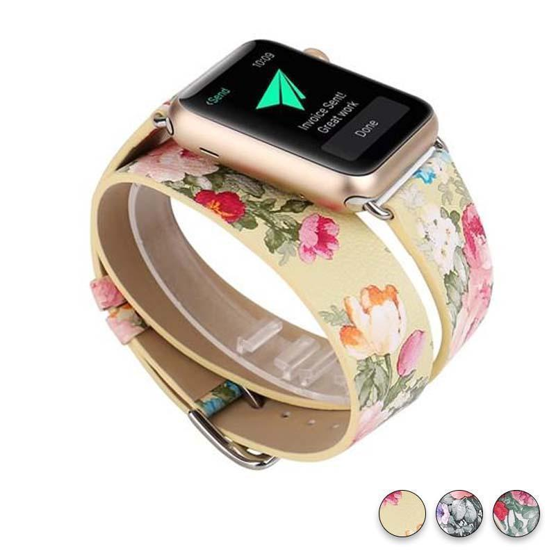 Watches Yellow Floral / 38mm/40mm Leather strap For Apple Watch band 44mm/ 40mm/ 42mm/ 38mm double tour iwatch Series 1 2 3 4 Flower print, USA Fast Shipping