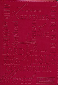 Christian Art Gifts Burgundy Faux Leather Journal | Names Of Jesus | Handy-sized Flexcover Inspirational Notebook w/Ribbon Marker, 240 Lined Pages, Gilt Edges, 5.5 x 7 Inches Imitation Leather