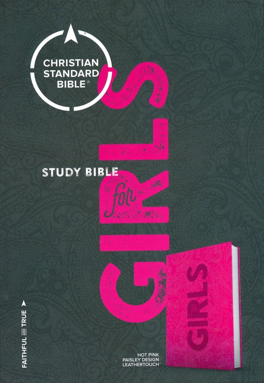CSB Study Bible for Girls Hot Pink, Paisley Design LeatherTouch