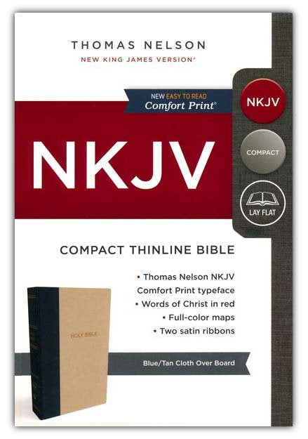 NKJV Compact Thinline Bible, Blue and Tan, Hardcover