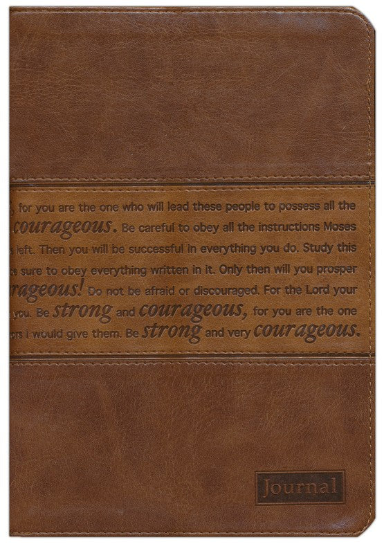 Journal, Strong and Courageous, Brown Zippered