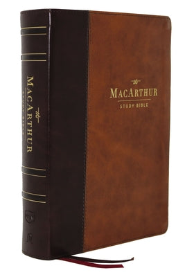 NKJV MacArthur Study Bible, Comfort Print--soft leather-look, mahogany