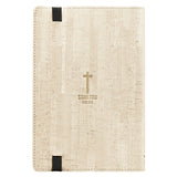 Tan Faux Leather Bullet Journal | Stand Firm - Luke 21:19 | Flexcover Inspirational Notebook w/Elastic Closure 160 Dot Grid Pages w/Scripture, 5.8 x 8.5 Inches Leather Bound