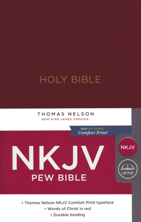 NKJV Pew Bible, Hardcover, Burgundy