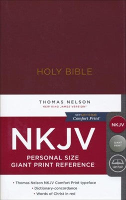 NKJV Comfort Print Reference Bible, Personal Size Giant Print, Hardcover, Burgundy