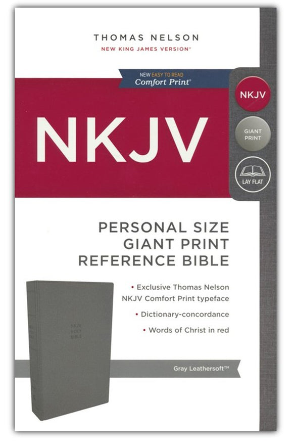 NKJV Comfort Print Reference Bible, Personal Size Giant Print, Imitation Leather, Gray