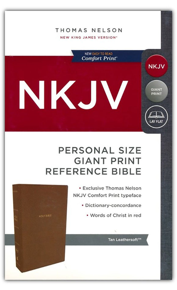 NKJV Comfort Print Reference Bible, Personal Size Giant Print, Imitation Leather, Tan