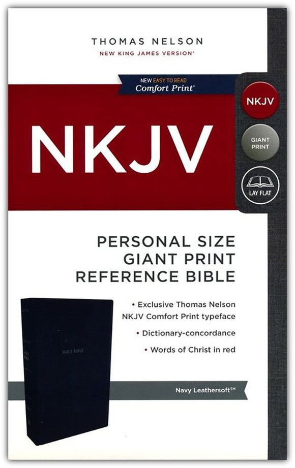 NKJV Comfort Print Reference Bible, Personal Size Giant Print, Imitation Leather, Blue