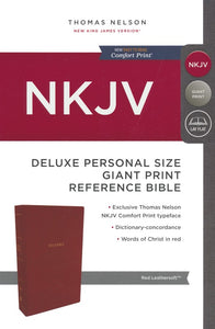 NKJV Comfort Print Deluxe Reference Bible, Personal Size Giant Print, Imitation Leather, Red