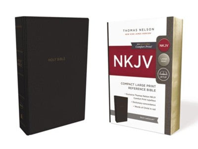 NKJV Comfort Print Reference Bible, Compact Large Print, Imitation Leather, Black