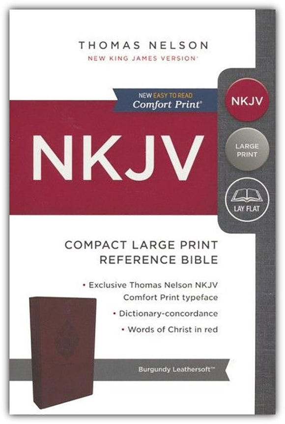 NKJV Comfort Print Reference Bible, Compact Large Print, Imitation Leather Burgundy