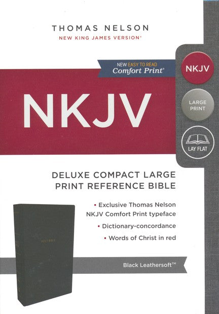 NKJV Comfort Print Deluxe Reference Bible, Compact Large Print, Imitation Leather, Black
