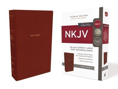 NKJV Comfort Print Deluxe Reference Bible, Compact Large Print, Imitation Leather, Red
