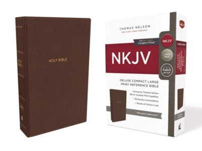 NKJV Comfort Print Deluxe Reference Bible, Compact Large Print, Imitation Leather, Brown