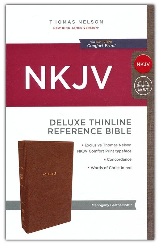 NKJV Comfort Print Deluxe Thinline Reference Bible, Imitation Leather, Brown