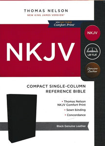 NKJV Comfort Print Compact Single-Column Reference Bible, Genuine Leather, Black