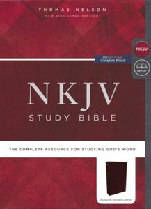 NKJV Comfort Print Study Bible, Thumb Index, Burgundy Bonded Leather