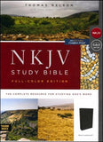 NKJV Comfort Print Study Bible Thumb Index Full-Color Leathersoft Black
