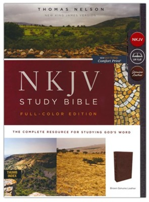 NKJV Comfort Print Study Bible Full-Color Edition, Thumb Index, Brown Calfskin Leather