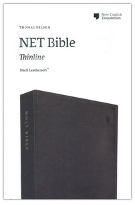 NET Comfort Print Thinline Bible--soft leather-look, black