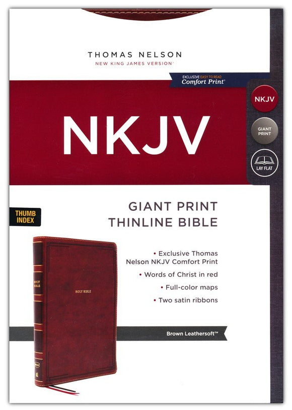 NKJV Giant-Print Thinline Bible, Comfort Print--soft leather-look, brown (indexed, red letter)