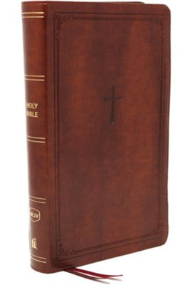 NKJV Compact Reference Bible, Comfort Print--soft leather-look, brown (red letter)