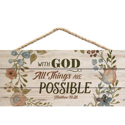 With God All Things are Possible hanging wood
