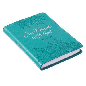 One Minute With God For Women | 365 Daily Devotions for Refreshment and Encouragement | Teal Faux Leather Flexcover Gift Book Devotional w/Ribbon Marker Leather Bound
