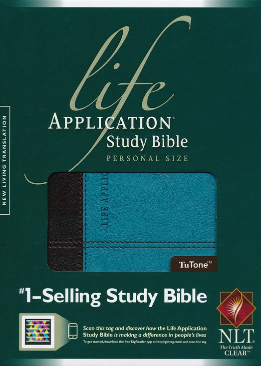 NLT Life Application Study Bible 2nd Edition, Personal Size TuTone Dark Brown/Teal Leatherlike