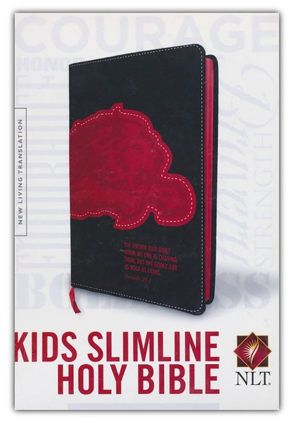 NLT Kids Slimline Bible, Proverbs 28:1 Courage, Leatherlike, Black