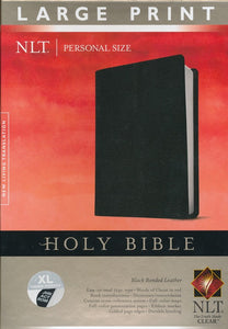 NLT Personal Size Large Print Bible, Black Bonded Leather Indexed