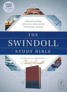 The NLT Swindoll Study Bible--soft leather-look, brown/teal/blue