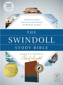 The NLT Swindoll Study Bible--soft leather-look, brown/teal/blue (indexed)