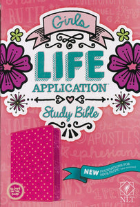 NLT Girls Life Application Bible, Pink Glow In the Dark Leatherlike