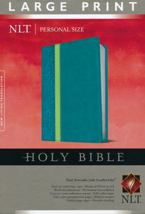 NLT Personal Size Bible, Large Print, soft imitation leather, teal/avocado/jade with thumb index