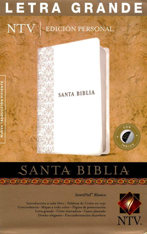 NTV Santa Biblia edicion personal letra grande, NTV Personal Size Large Print Bible, Imitation Leather, White with Thumb Index.