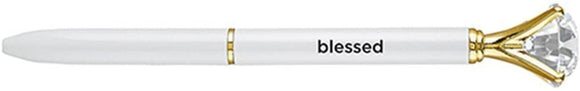 Blessed White and Gold Toned Gem Topped Pen by Gem Pens