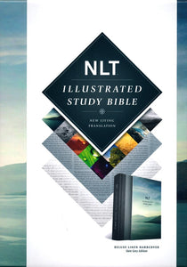 NLT Illustrated Study Bible, Deluxe Slate Grey Linen Harcover with Slipcase