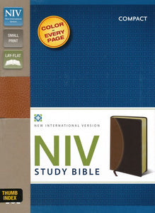NIV Study Bible, Compact Indexed, Leather Bound, Tan/Burgundy
