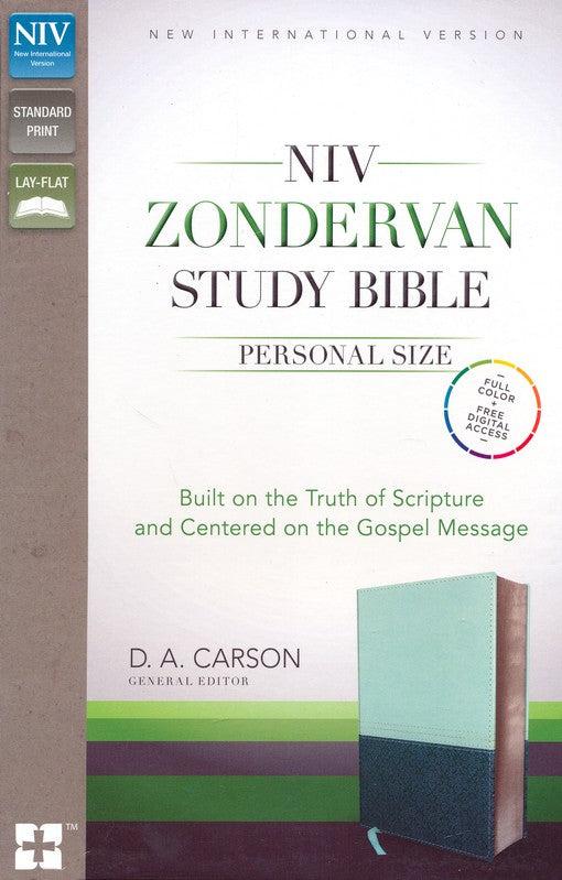 NIV Zondervan Study Bible, Personal-Size; Soft Leather-look, Sea glass/caribbean blue